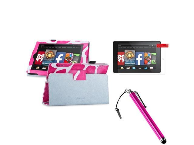 eForCity Pink Giraffe Leather Stand Case + Protector + Stylus For 2014 Amazon Kindle Fire HD 7
