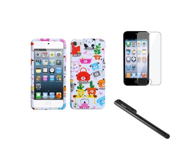 eForCity White Pink Red Dog Puppy Case + Screen Protector + Stylus compatible with Apple? iPod Touch 5 5th 5G Gen