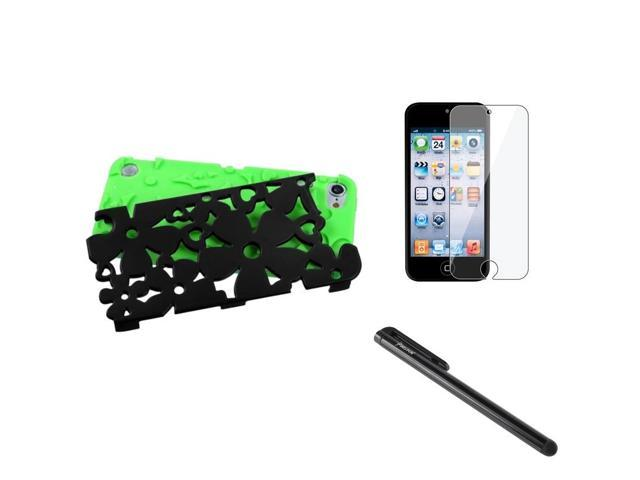 eForCity Green Black Flower Dual Layer Hard Soft Case + LCD Cover + Stylus compatible with Apple® iPod Touch 5 5th 5G