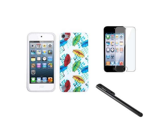 eForCity Colorful Umbrella Hard Case + Screen Protector + Stylus compatible with Apple® iPod Touch 5 5G 5th Gen