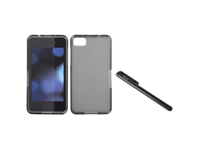 eForCity Clear Smoke Candy TPU Skin Gel Cover Case + Black Stylus compatible with BlackBerry Z10