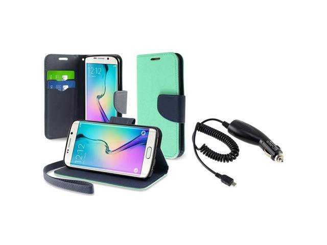 eForCity Green Leather Card Wallet Case + Micro USB Car Charger For Samsung Galaxy S6 Edge SM-G925