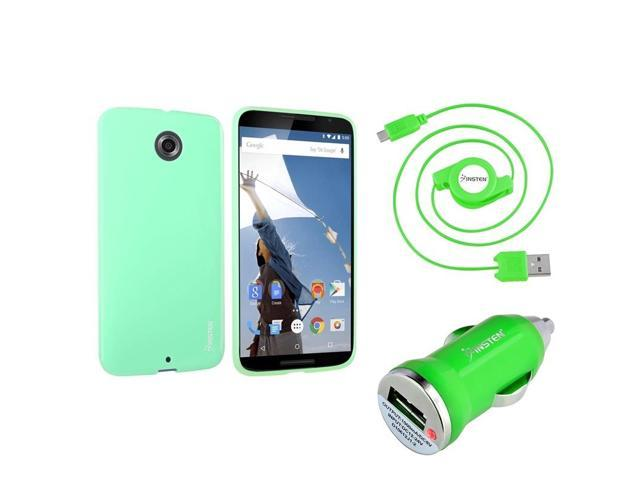 eForCity Green TPU Jelly Case + Retract Micro USB Cable + Car Charger For Motorola Google Nexus 6