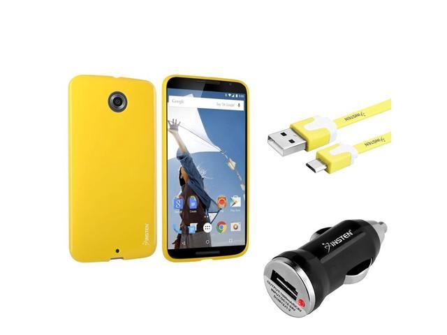 eForCity Yellow TPU Jelly Gel Case + Flat Micro USB Cable + Car Charger For Motorola Google Nexus 6