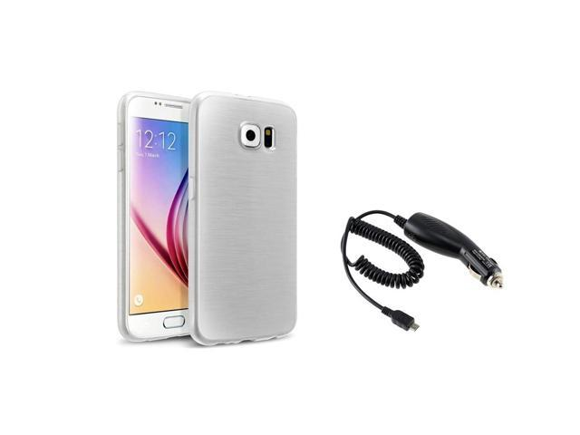 eForCity White TPU Soft Rubber Gel Skin Case + Micro USB Car Charger For Samsung Galaxy S6 SM-G920