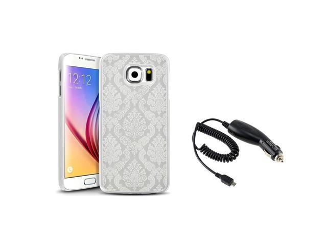 eForCity White Lace Hard Rubberized Case + Micro USB Car Charger For Samsung Galaxy S6 SM-G920