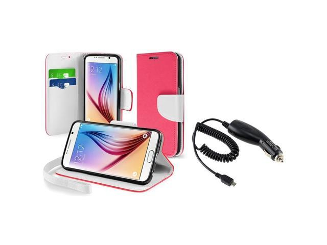 eForCity Rose Red Leather Wallet Case + Micro USB Car Charger For Samsung Galaxy S6 SM-G920
