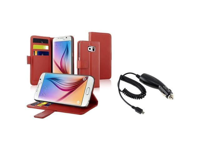 eForCity Red Wallet Flip Leather Stand Case + Micro USB Car Charger For Samsung Galaxy S6 SM-G920