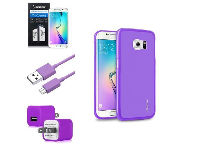 eForCity Purple TPU Pudding Case + Screen Protector + Micro USB Cable + Wall Adapter For Samsung Galaxy S6 Edge SM-G925