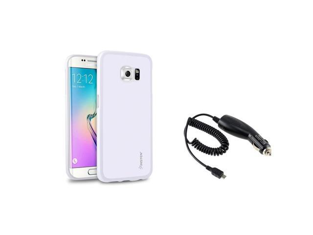 eForCity White TPU Pudding Case Skin + Micro USB Car Charger For Samsung Galaxy S6 Edge SM-G925