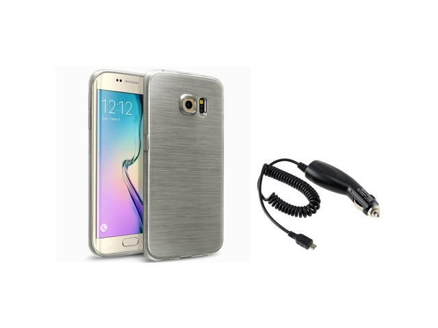 eForCity Smoke TPU Rubber Gel Skin Case + Micro USB Car Charger For Samsung Galaxy S6 Edge SM-G925