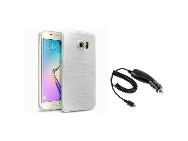 eForCity White TPU Rubber Gel Skin Case + Micro USB Car Charger For Samsung Galaxy S6 Edge SM-G925