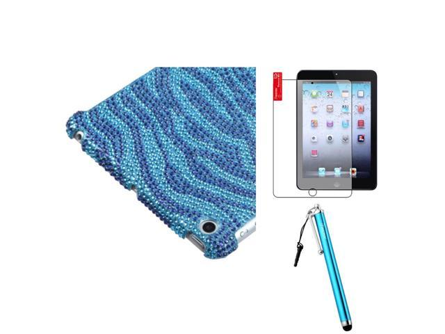 eForCity Blue Zebra Diamond SmartSlim Back Case Cover + LCD Cover + Stylus compatible with Apple® iPad Mini New