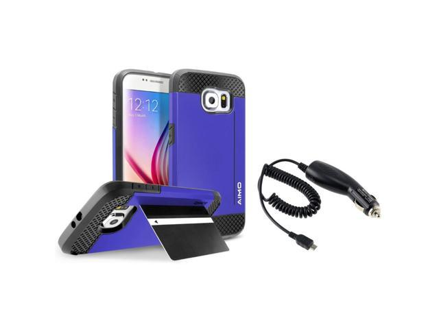 eForCity Blue Hybrid Card Stand Case + Micro USB Car Charger For Samsung Galaxy S6 SM-G920