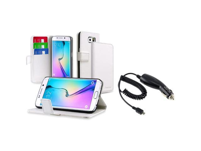 eForCity White Wallet Flip Leather Stand Case + Micro USB Car Charger For Samsung Galaxy S6 SM-G920