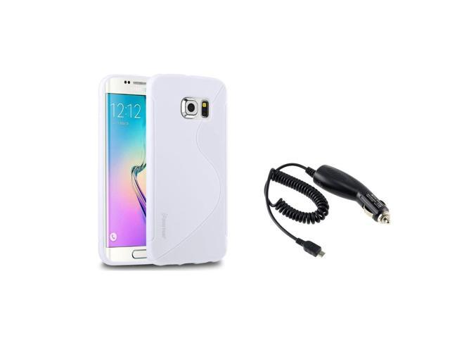 eForCity White TPU S Shape Case + Micro USB Car Charger For Samsung Galaxy S6 Edge SM-G925