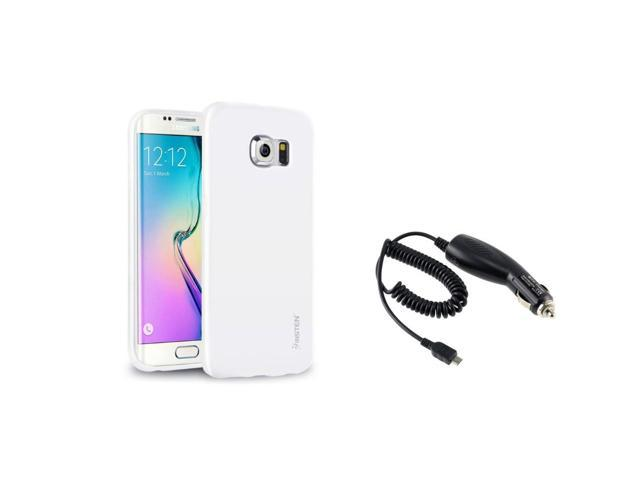 eForCity White Jelly TPU Rubber Gel Case + Micro USB Car Charger For Samsung Galaxy S6 Edge SM-G925