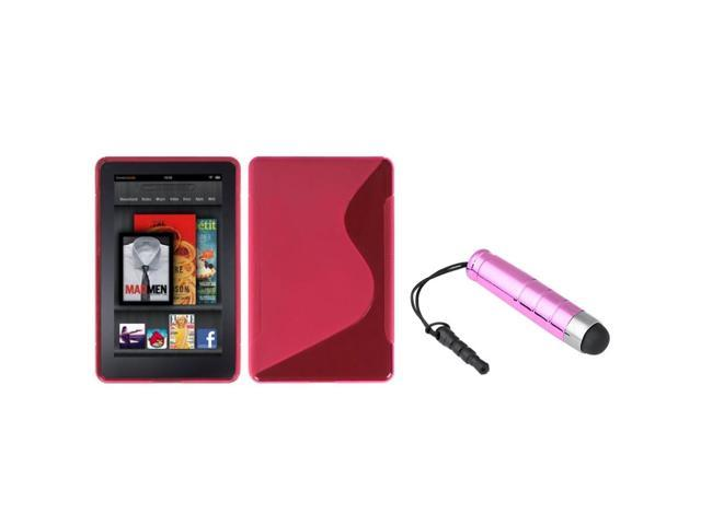 eForCity Hot Pink S Shape Candy Skin Case Cover + Mini Stylus compatible with Amazon Kindle Fire