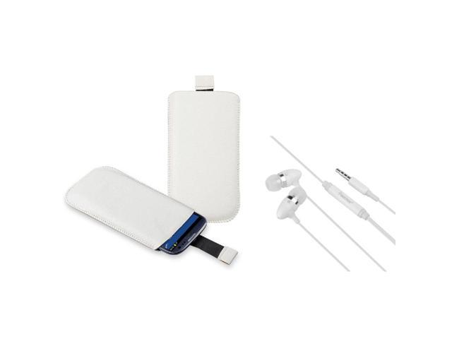 eForCity white Leather Pouch + White In-ear (w/on-off) Stereo Headsets Compatible with Samsung© Galaxy S3 S III i9300
