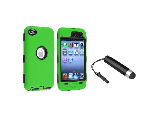 eForCity Green / Black 3-Piece Deluxe Skin / Hard Case + Black Stylus For Apple iPod Touch 4th Gen 4G