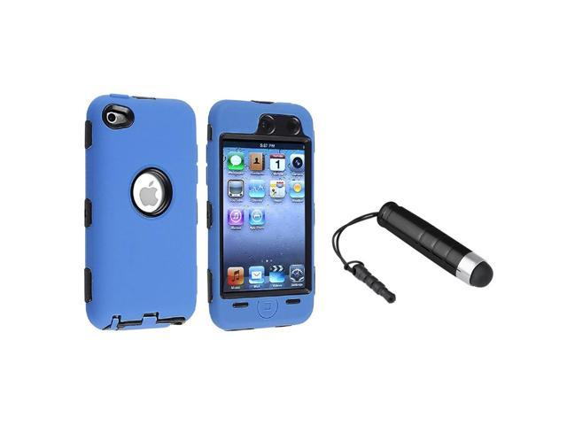 eForCity Deluxe Hybrid 3-Piece Blue Cover Case+Black Stylus For Apple iPod Touch 4th Gen 4 4G