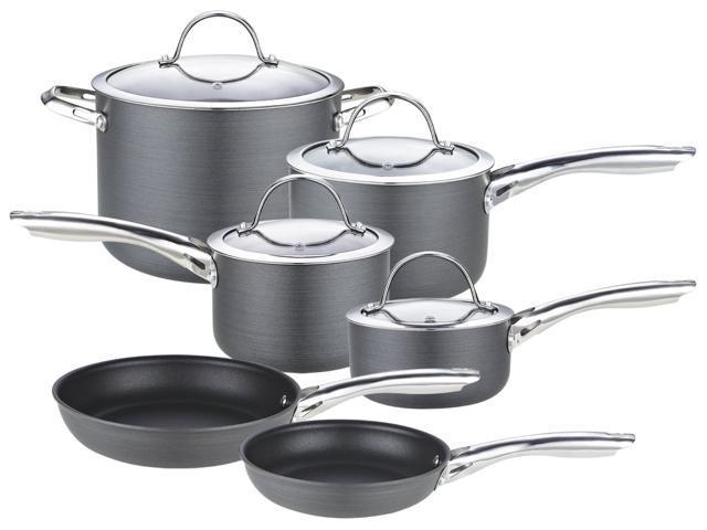 Cooks Standard NC-00347 10-Piece Hard Anodize Premium Grade Nonstick Cookware Set, Black