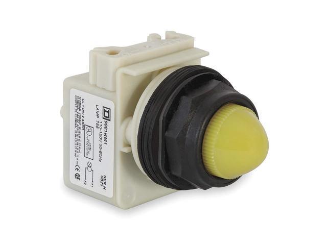 Pilot Light, 30mm, Plastic, Yellow, 120VAC 9001SKP1Y9