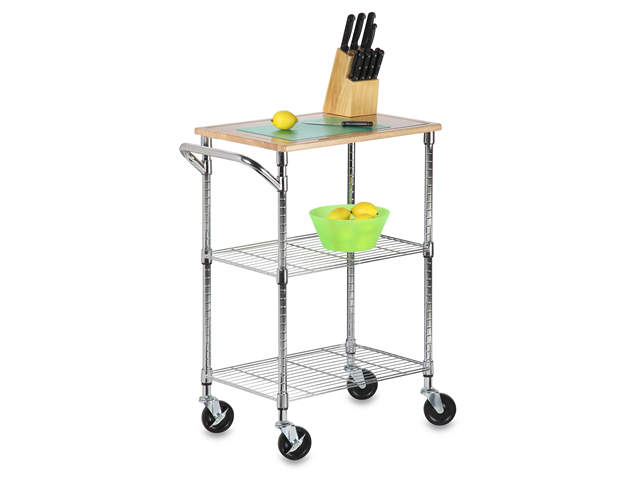 Chrome 2 Shelf Urban Rolling Cart