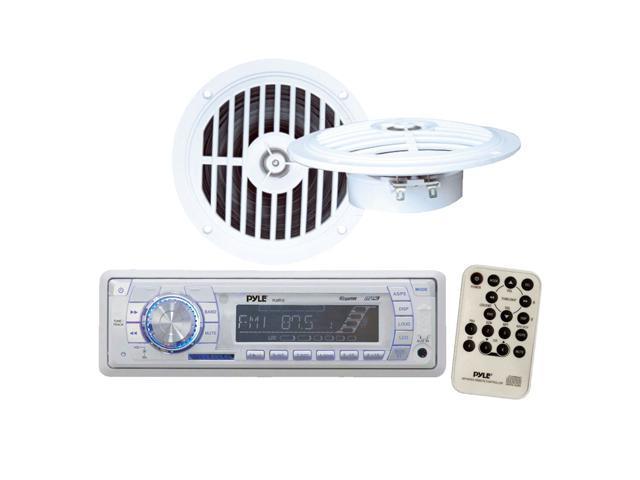 Pyle - AM/FM-MPX PLL Tuning Marine Radio w/SD/MMC USB + Two 5 1/4'' Dual Cone Waterproof Stereo Speaker System