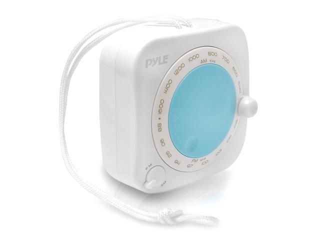 Pyle Splash Proof Water Resistant Mini AM/FM Radio with Hanging Strap, Rotary Volume Control, Manual Tuner