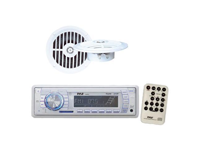 Pyle - AM/FM-MPX PLL Tuning Marine Radio w/SD/MMC & USB + 5 1/4'' Dual Cone Waterproof Stereo Speaker System