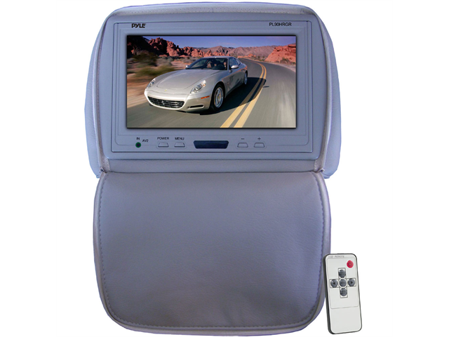 Pyle - Adjustable Headrest/ Built-In 9'' TFT-LCD Monitor with IR Transmitter (Gray Color) (Refurbished)