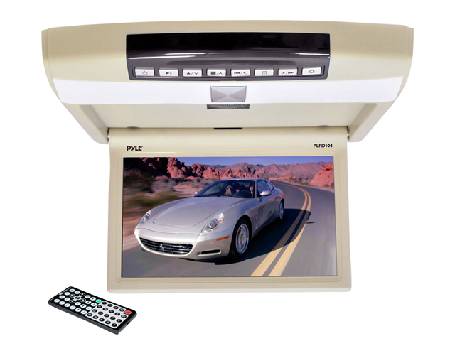 Pyle - 10.4'' Flip Roof Mount Monitor & DVD Player with Wireless FM Modulator, IR Transmitter, USB Flash & SD Card Compatible