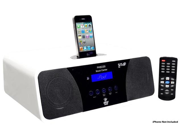 PyleHome - 200 Watts High-Performance 2.1 Channel AM/FM Clock Radio Speaker With IPod / Iphone Docking Station(White)
