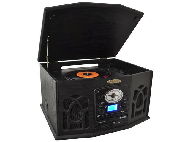 PyleHome - Retro Vintage Turntable System with Built-in Speakers - (Black)