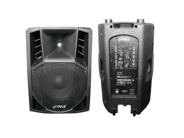 1200 Watts 15'' Powered 2 Way Plastic Molded PA Speaker With Wheels For Easy Transport