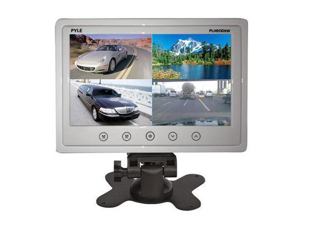 9'' Quad TFT/LCD Video Monitor w/Headrest Shroud RCA Connectors(White)