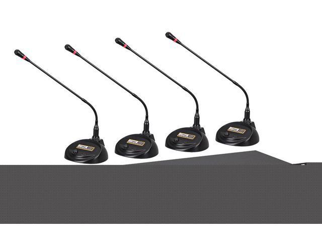 PylePro - Rack Mount 4-Channel Desktop Conference UHF Wireless Microphone System