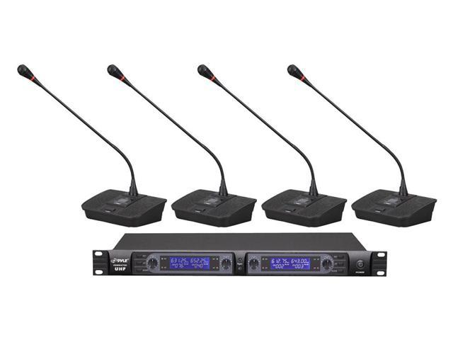 PylePro - Professional Rack Mount 4 Channel Desktop UHF Selectable Frequency Wireless Microphone System