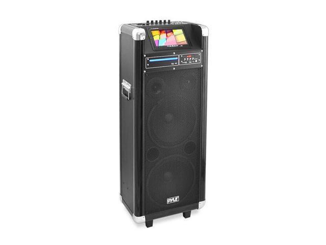 Karaoke Vibe Bluetooth Multimedia PA System with Dual 12'' Woofers, Dual 3'' Tweeters, 7'' Screen, DVD Player, VHF Wireless Microphone, 1000 Watt