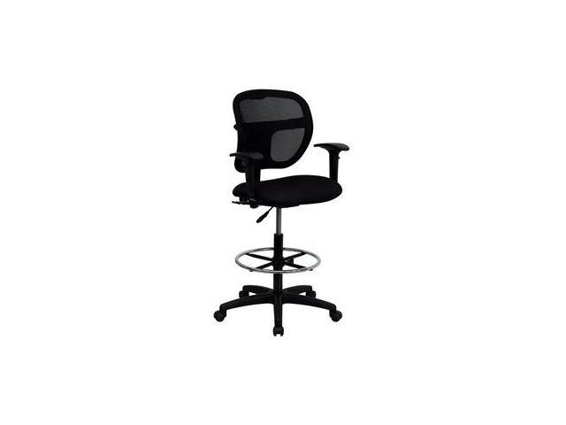Flash Furniture Mid-Back Mesh Drafting Stool with Black Fabric Seat and Arms [WL-A7671SYG-BK-AD-GG]