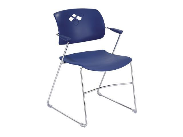Safco 4286BU Veer Series Stacking Chair w/Arms, Sled Base, Blue/Chrome, 4/Carton