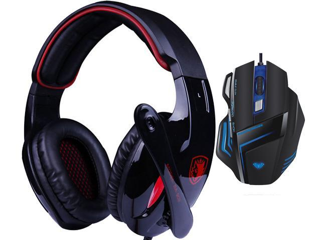 AULA Ghost Shark 2000DPI 7D Firepower Button BackLight Programmabl Gaming Mouse+Bluedio R+Sades Over Ear Surround Sound PC Gaming Headset & Music ...
