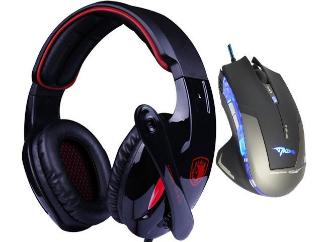 E-Blue Mazer 2500 DPI Blue LED Optical USB Wired Gaming Mouse+Bluedio R+Sades Over Ear Surround Sound PC Gaming Headset & Music Headset w/ Mic
