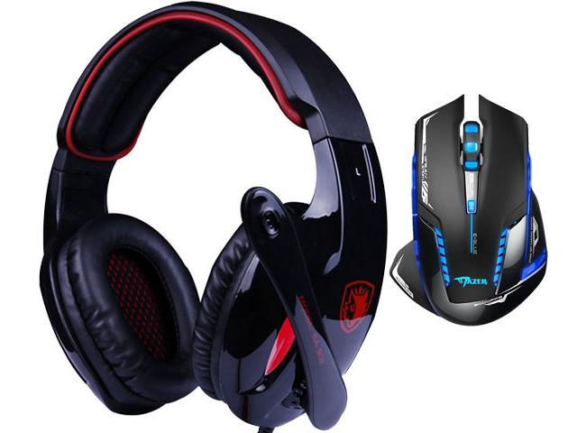 E-Blue Mazer II AVAGO chip 2500 DPI Blue LED 2.4GHz Wireless Optical Pro Gaming Mouse+Bluedio R+Sades Over Ear Surround Sound PC Gaming Headset & ...