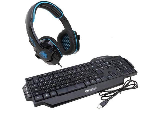 Sades Stereo Circumaural Gaming Headset w/ Hidden Microphone+ORICO GK800 Multimedia USB Wired Gaming Keyboard
