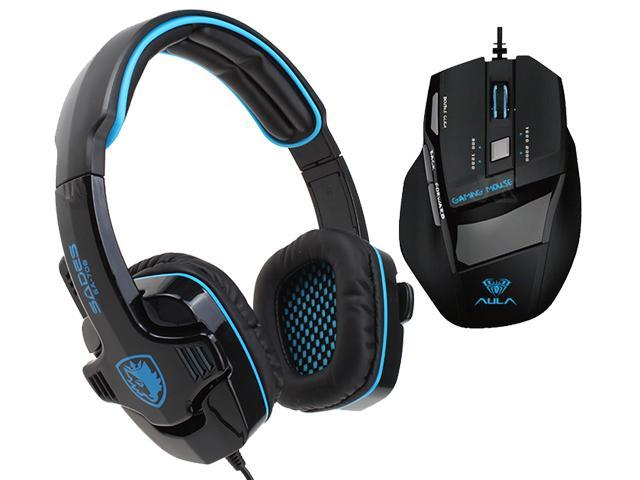 Professional USB Wired Optical 7D 7 Buttons 2000DPI Gaming Mouse Mice+Sades Stereo Circumaural Gaming Headset w/ Hidden Microphone
