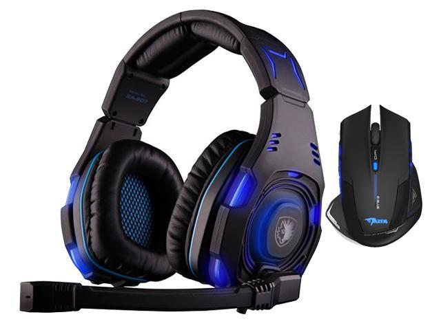 Sades SA-907 Over Ear Stereo 7.1 Surround Sound PC Gaming Headset & Music Headset+Bluedio R+Sades Over Ear Surround Sound PC Gaming Headset & ...