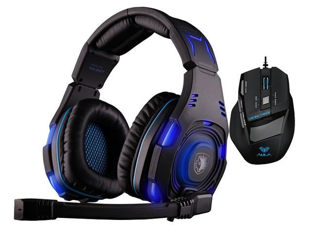 Professional USB Wired Optical 7D 7 Buttons 2000DPI Gaming Mouse Mice+Sades SA-907 Over Ear Stereo 7.1 Surround Sound PC Gaming Headset & Music ...