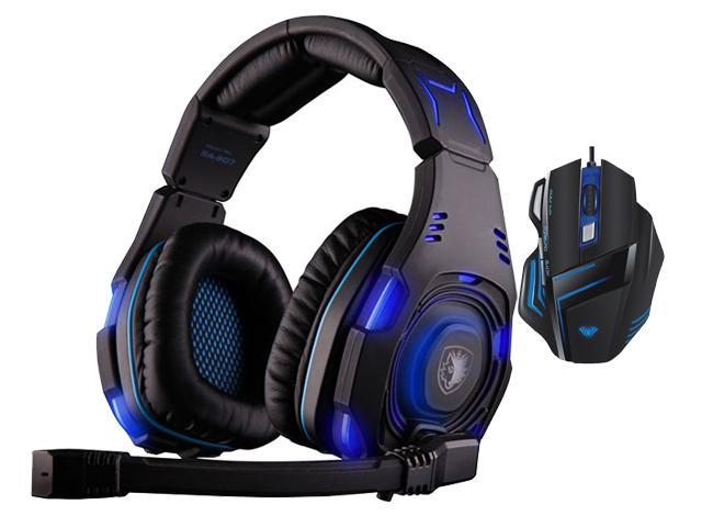 AULA Ghost Shark 2000DPI 7D Firepower Button BackLight Programmabl Gaming Mouse+Sades SA-907 Over Ear Stereo 7.1 Surround Sound PC Gaming Headset ...